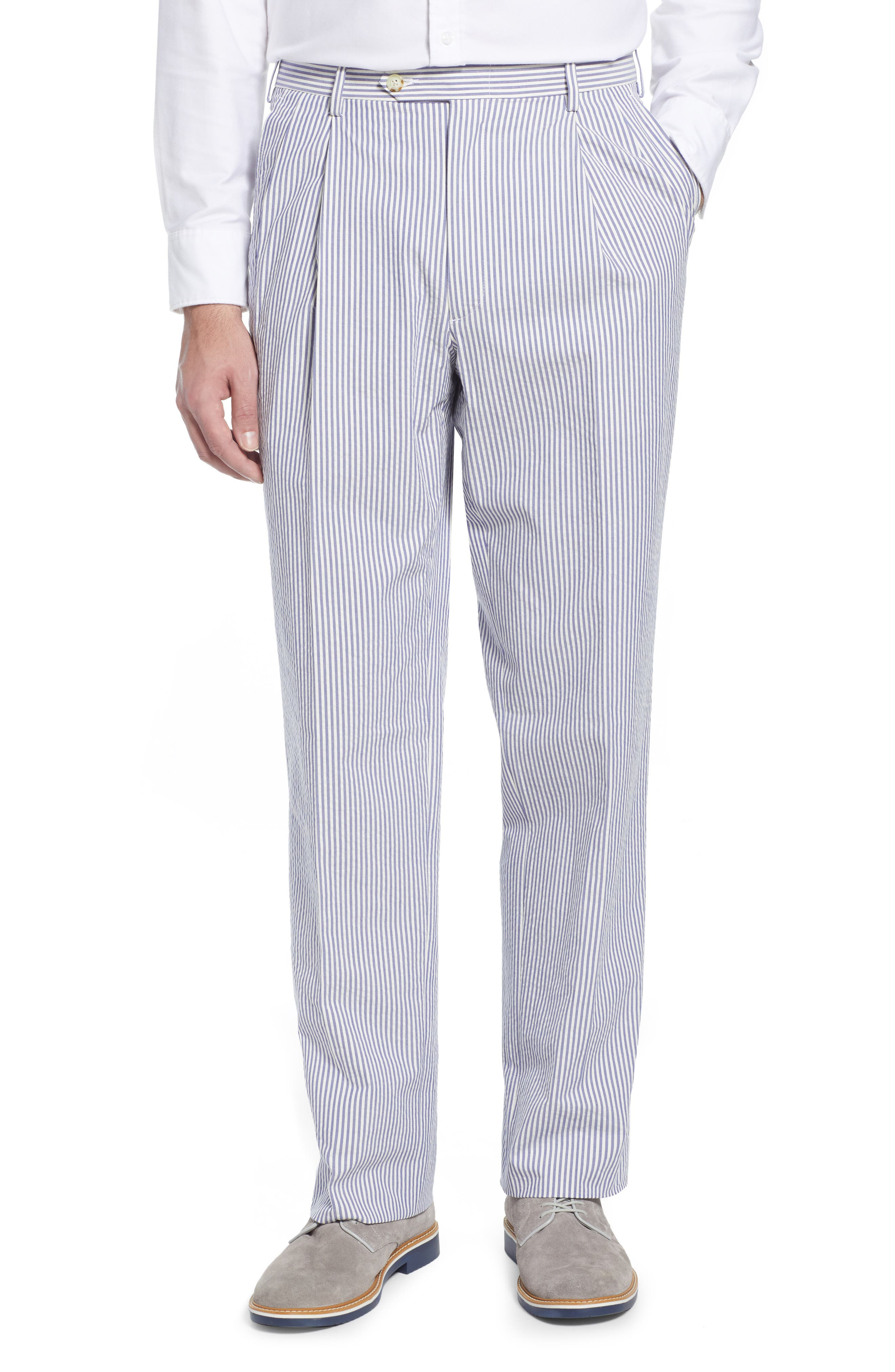 Pleated Seersucker Cotton Dress Pants