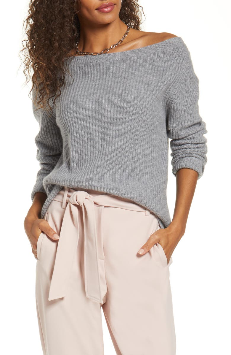 HALOGEN<SUP>®</SUP> Off the Shoulder Cashmere Sweater, Main, color, GREY HEATHER