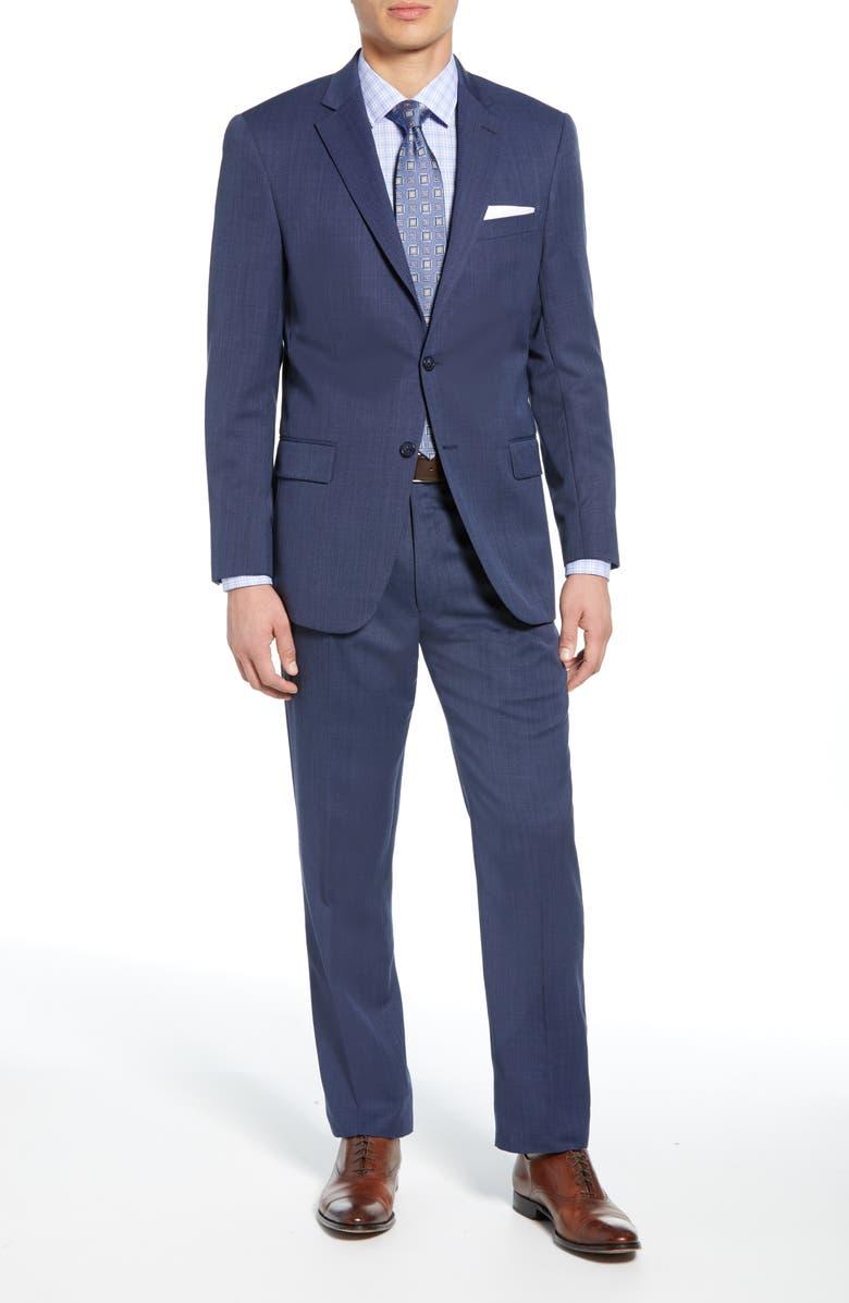 HART SCHAFFNER MARX New York Classic Fit Bird's Eye Wool Suit, Main, color, 420