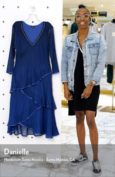 Beaded Neck Tiered Hem Midi Dress, sales video thumbnail