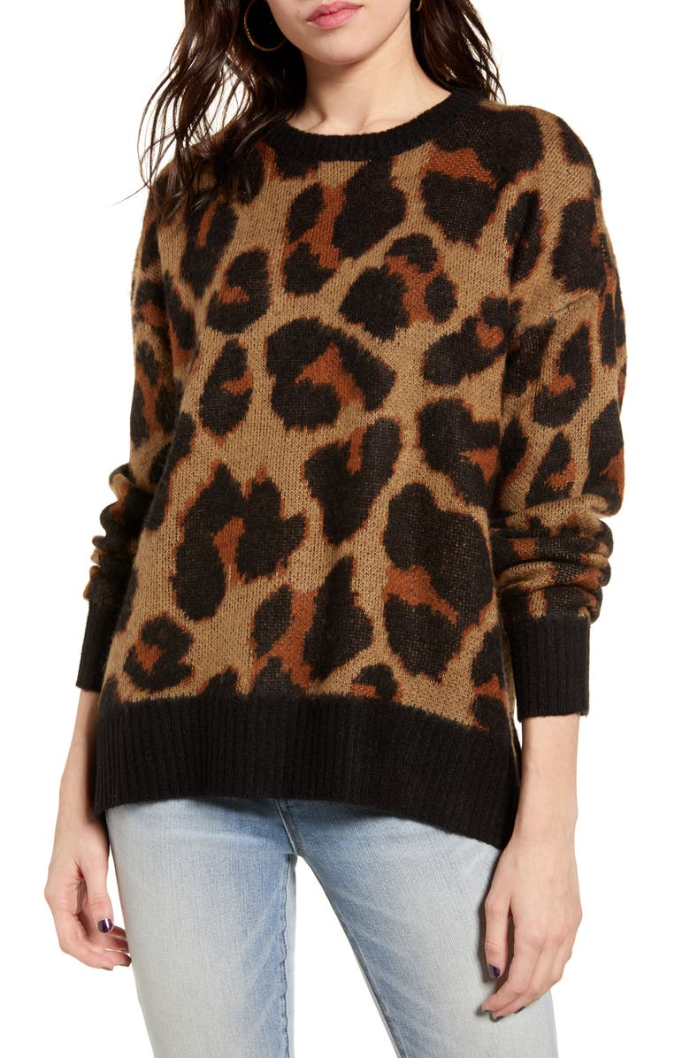 BAND OF GYPSIES Bronzer Leopard Jacquard Sweater, Main, color, TAN BLACK
