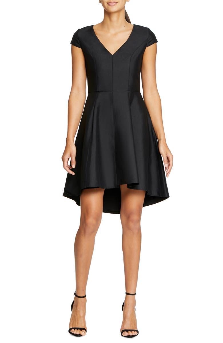 HALSTON HERITAGE High/Low Cocktail Dress, Main, color, BLACK