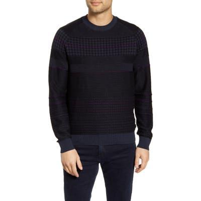 Boss Arkamoro Stripe Cotton Blend Crewneck Sweater, Blue