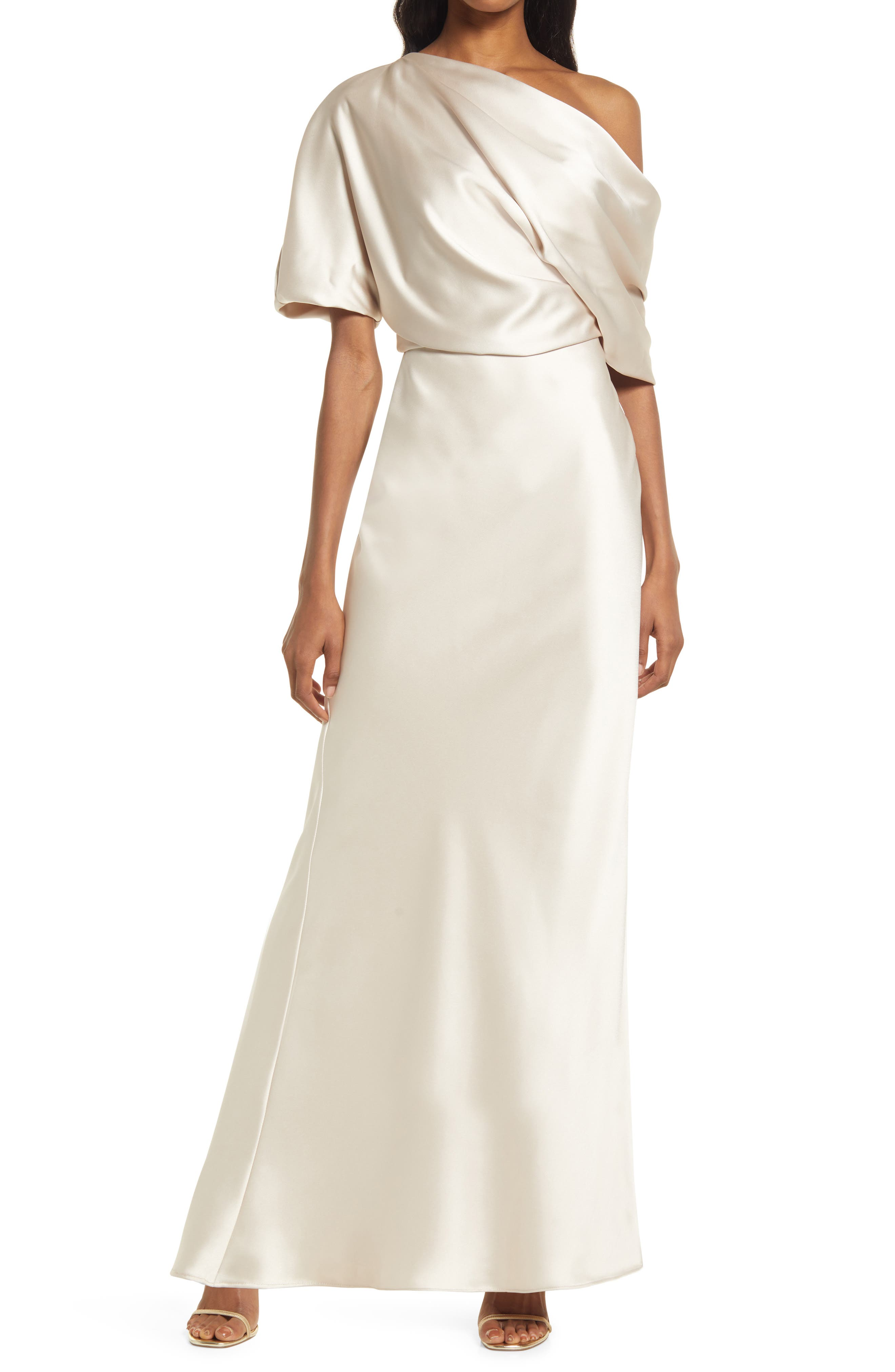 Amsale One-Shoulder Fluid Satin Gown