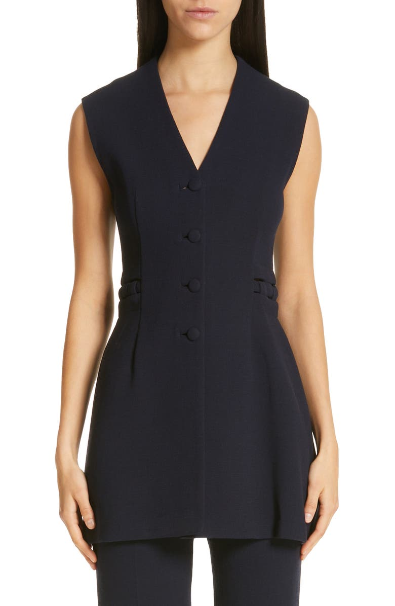 LELA ROSE V-Neck Wool Crepe Vest, Main, color, 400
