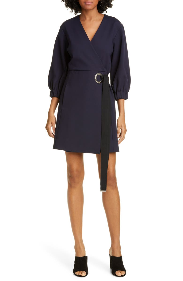 TIBI Wrap Front Minidress, Main, color, NAVY