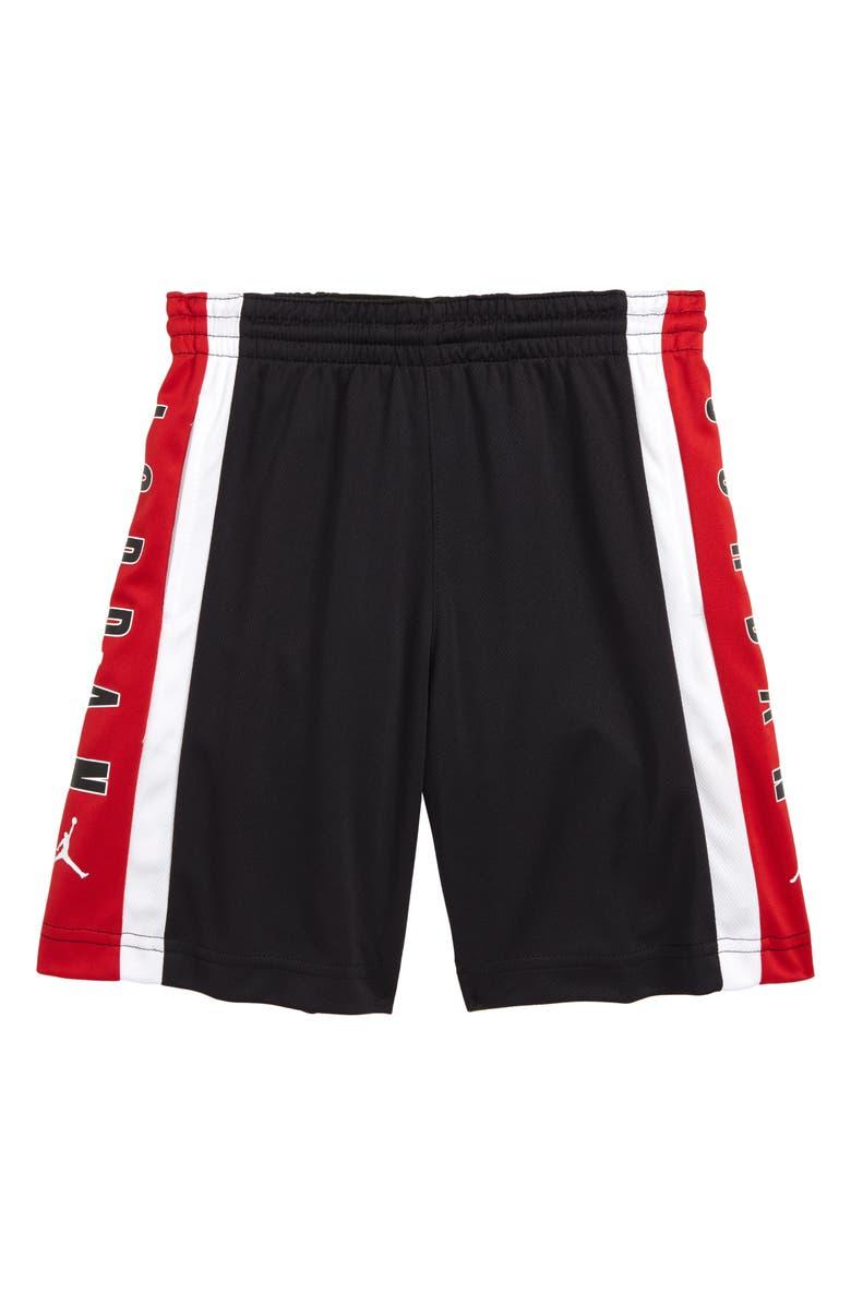 JORDAN Rise3 Dri-FIT Basketball Shorts, Main, color, BLACK/ GYM RED