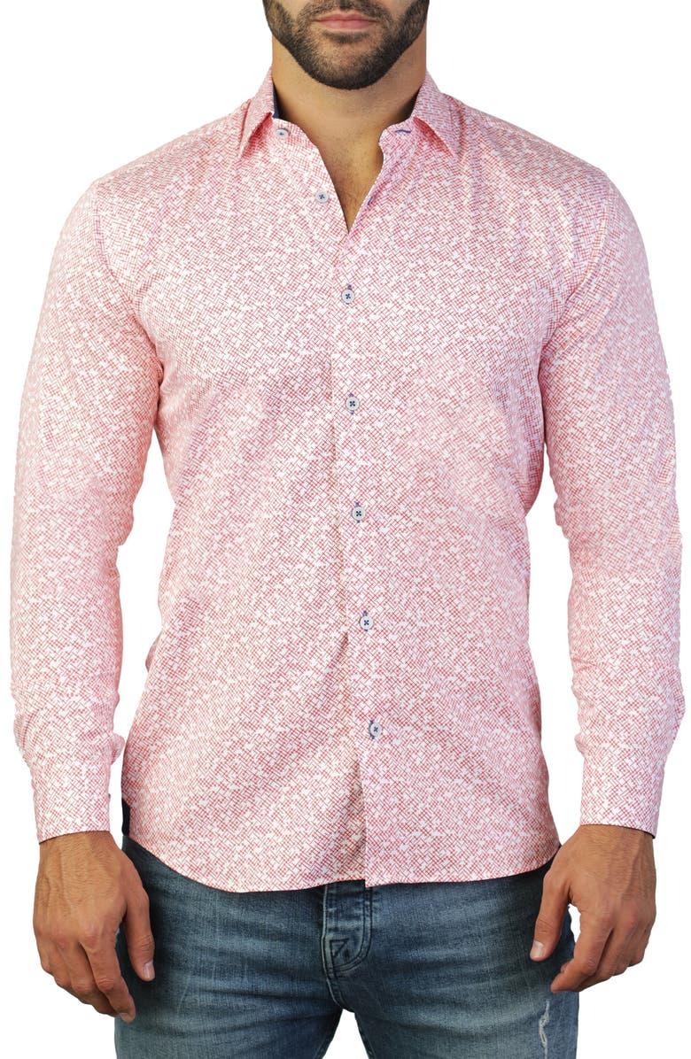 MACEOO Fibonacci Cross Regular Fit Shirt, Main, color, RED
