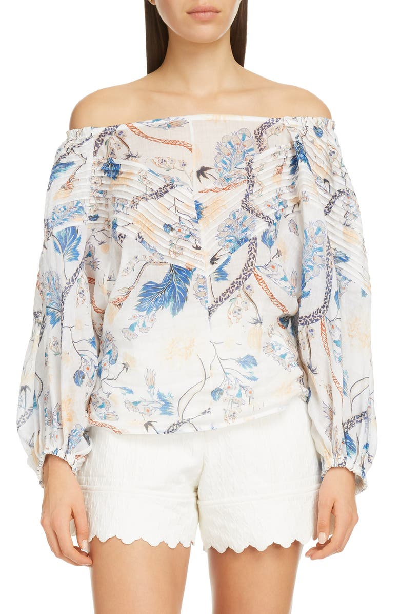 CHLOÉ Pintucked Floral Print Off The Shoulder Blouse, Main, color, WHITE - PINK