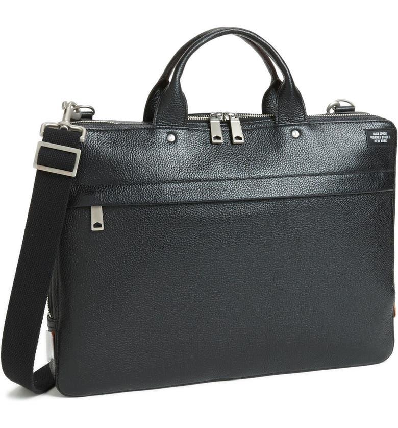 JACK SPADE 'Mason' Leather Briefcase, Main, color, 001