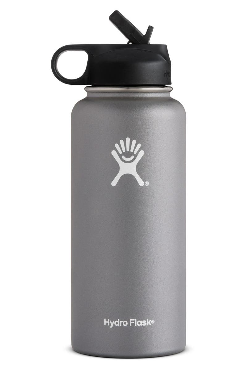 HYDRO FLASK 32-Ounce Wide Mouth Bottle with Straw Lid, Main, color, GRAPHITE