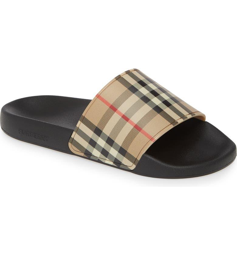BURBERRY Furley Vintage Check Slide Sandal, Main, color, 250