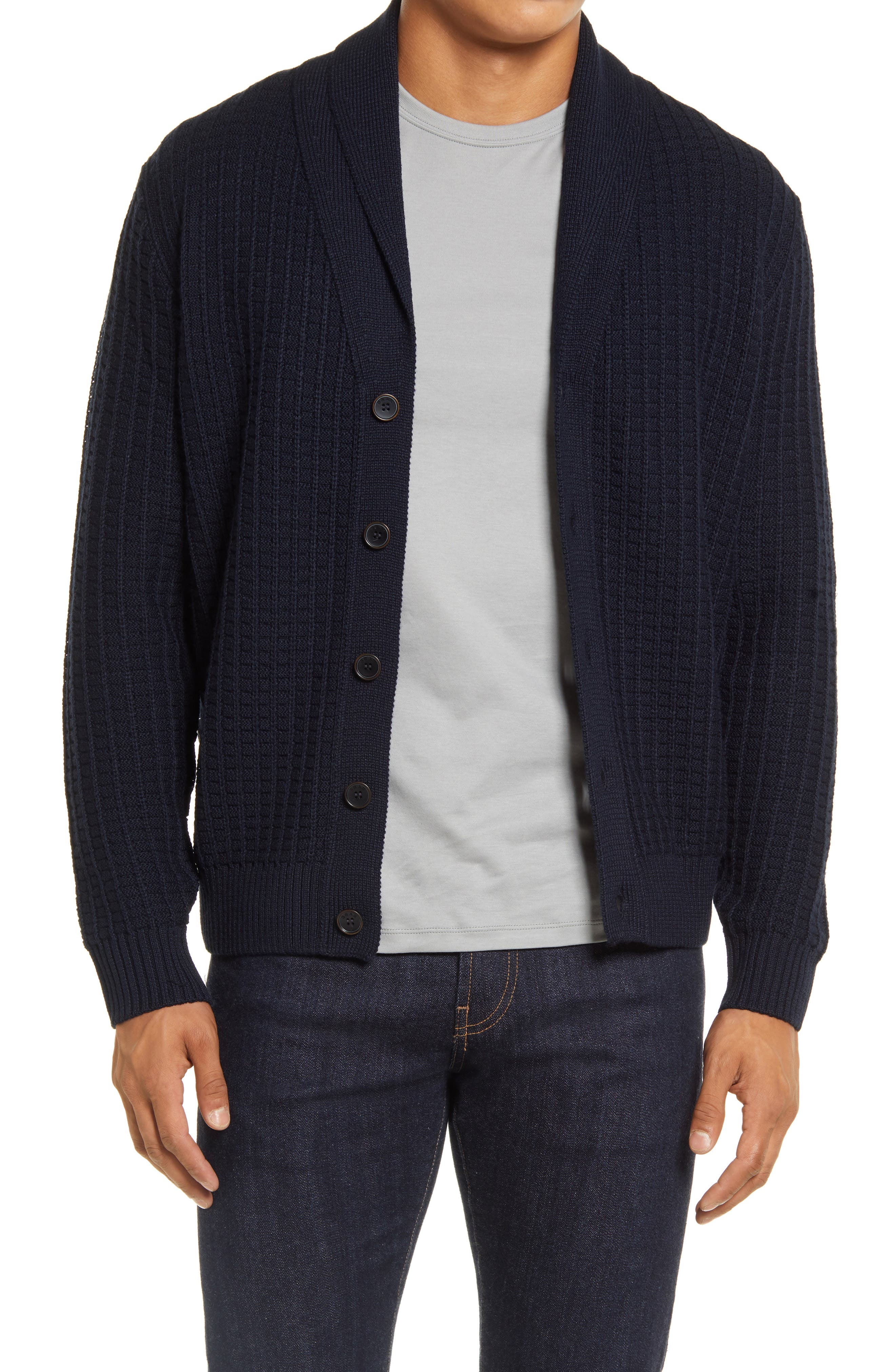A shawl collar and roomy, layerable fit bring essential details to a cardigan crafted with soft wool to keep you comfortable in the cold or by the fire. Style Name: Brax James Shawl Collar Cardigan. Style Number: 6103792. Available in stores.
