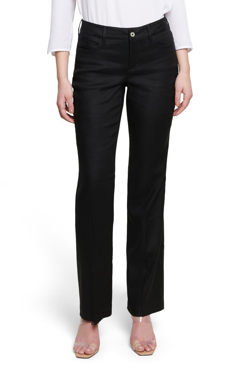 CURVES 360 BY NYDJ Wide Leg Linen Blend Pants, Main, color, BLACK
