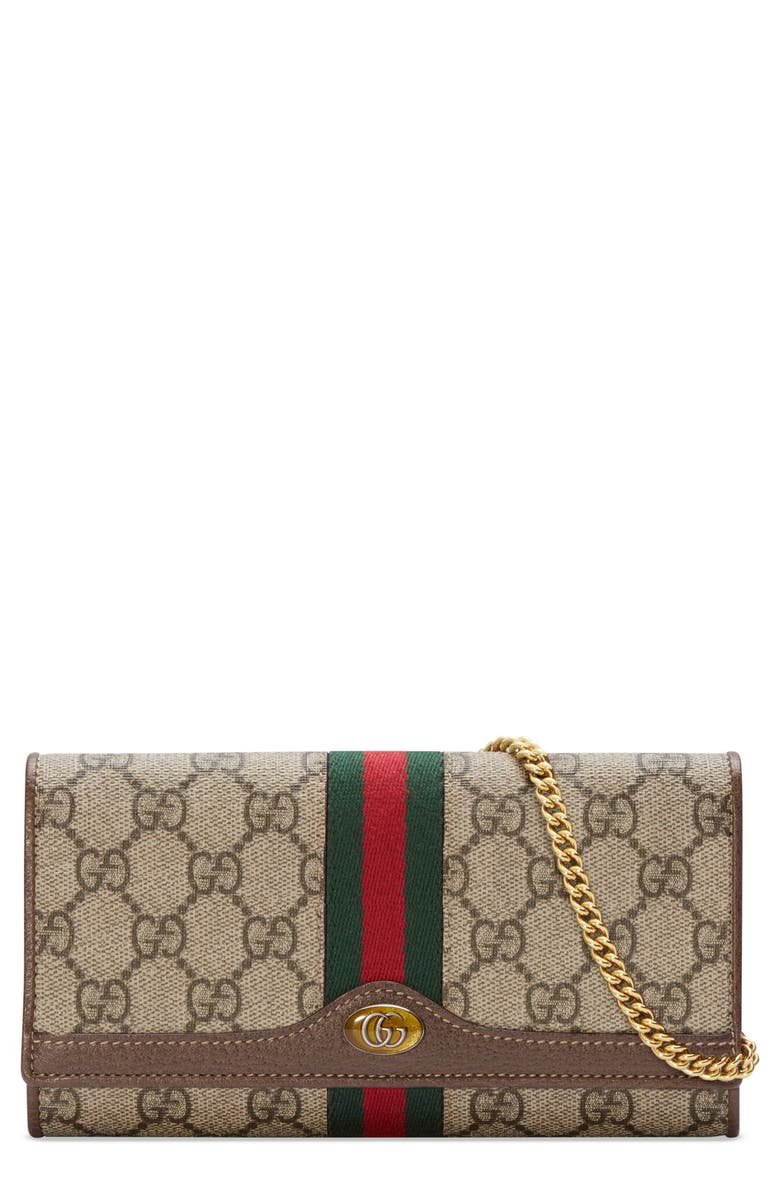 GUCCI Ophidia GG Supreme Wallet on a Chain, Main, color, BEIGE EBONY/ NEW ACERO