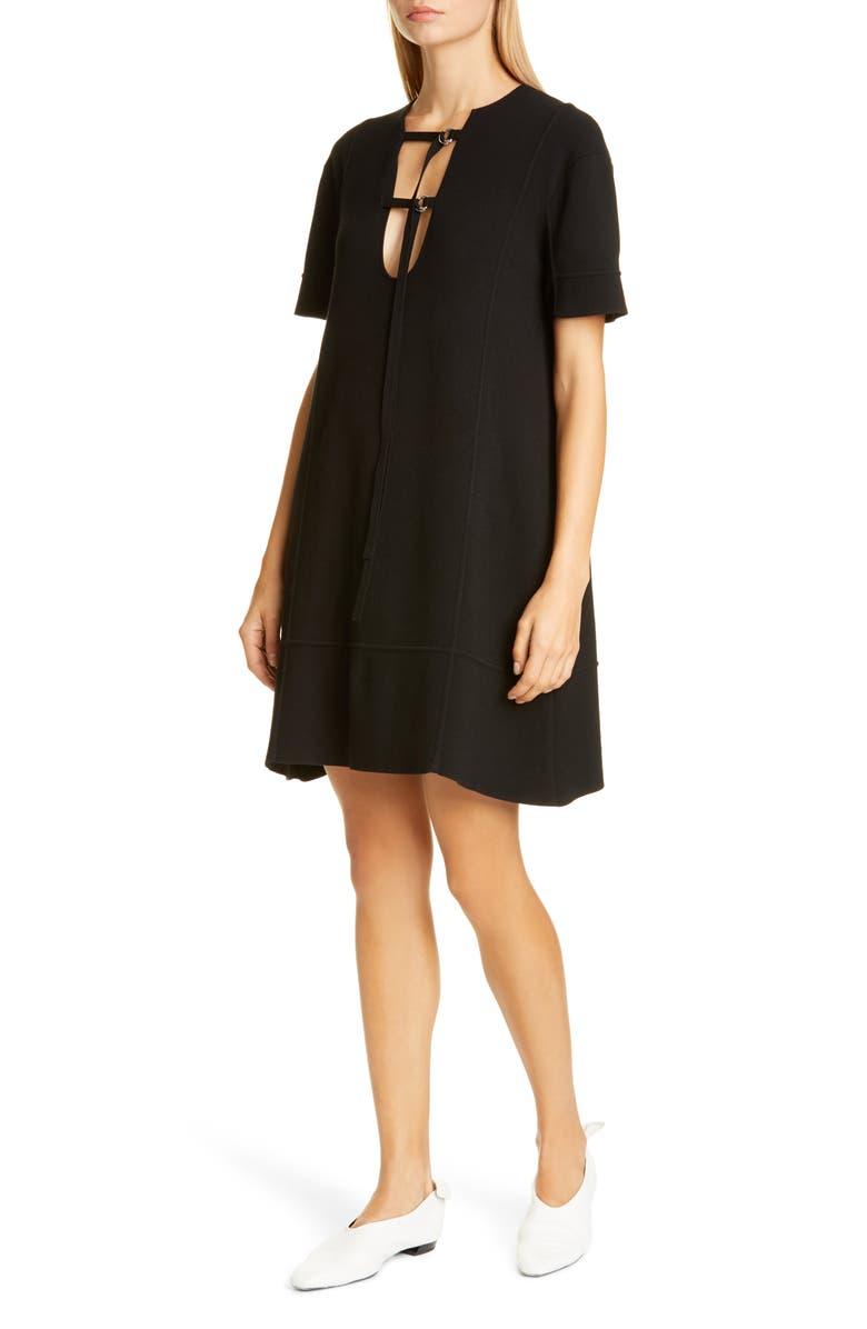 PROENZA SCHOULER Tie Detail Jersey Dress, Main, color, BLACK