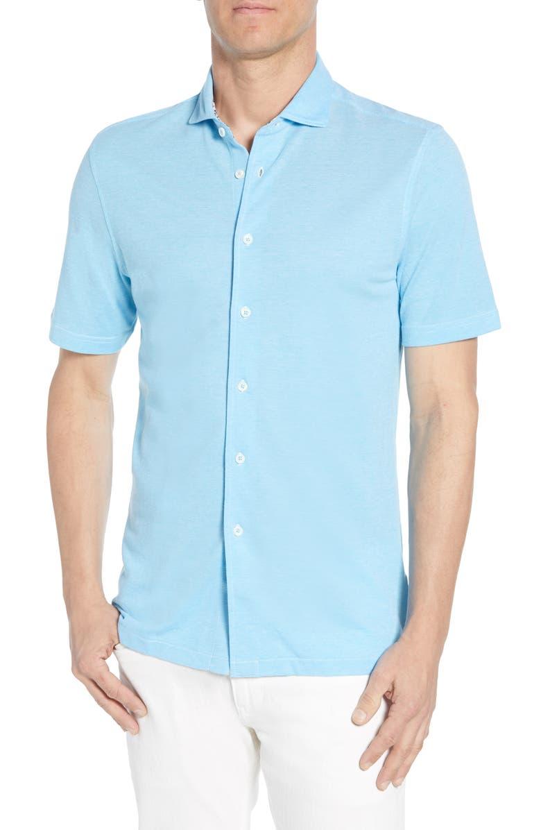 BUGATCHI Regular Fit Knit Shirt, Main, color, AQUA