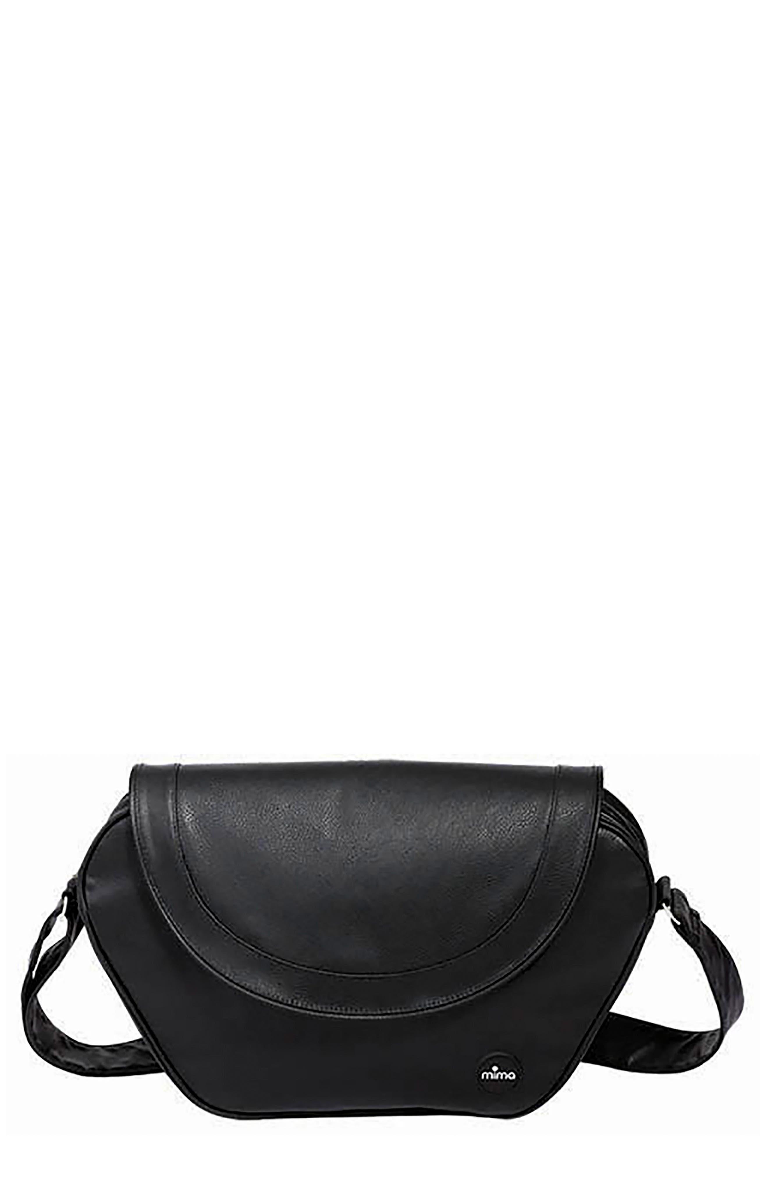 Trendy Faux Leather Diaper Bag, Main, color, BLACK