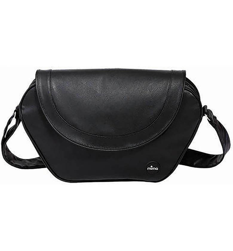 MIMA Trendy Faux Leather Diaper Bag, Main, color, BLACK