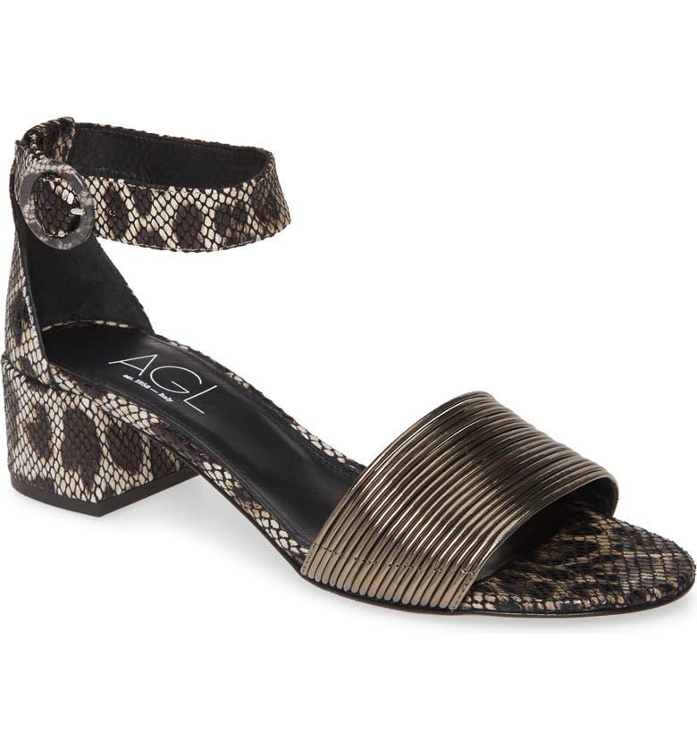 AGL Ankle Strap Sandal, Main, color, ANIMAL/ METALLIC