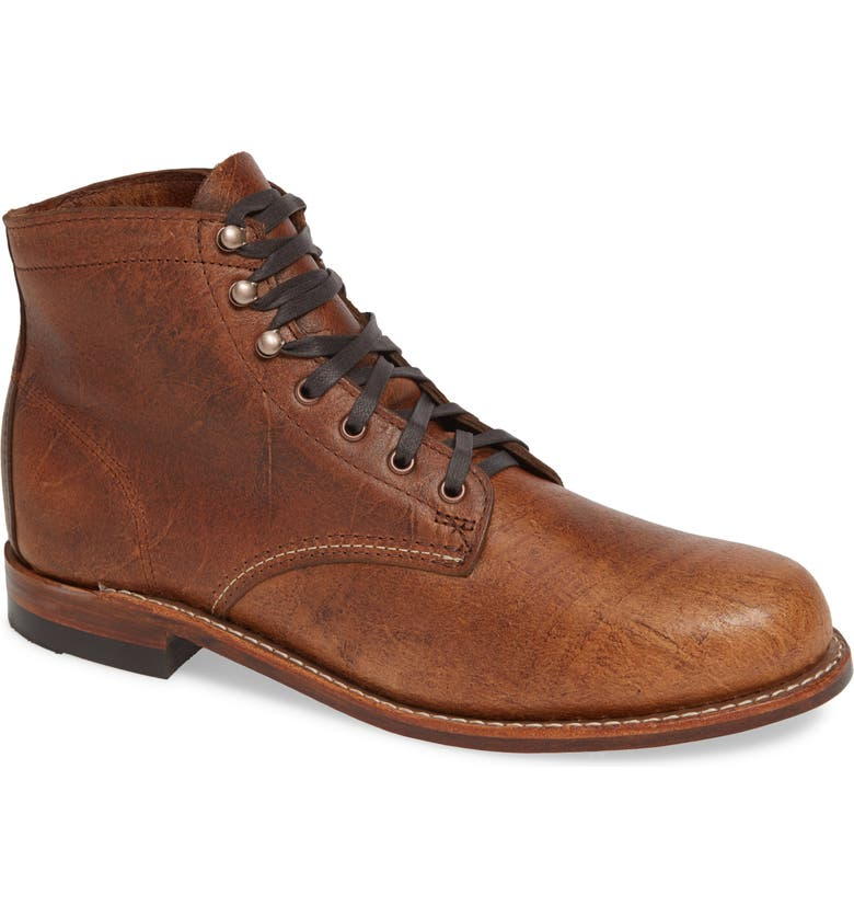 WOLVERINE '1000 Mile' Plain Toe Boot, Main, color, COGNAC