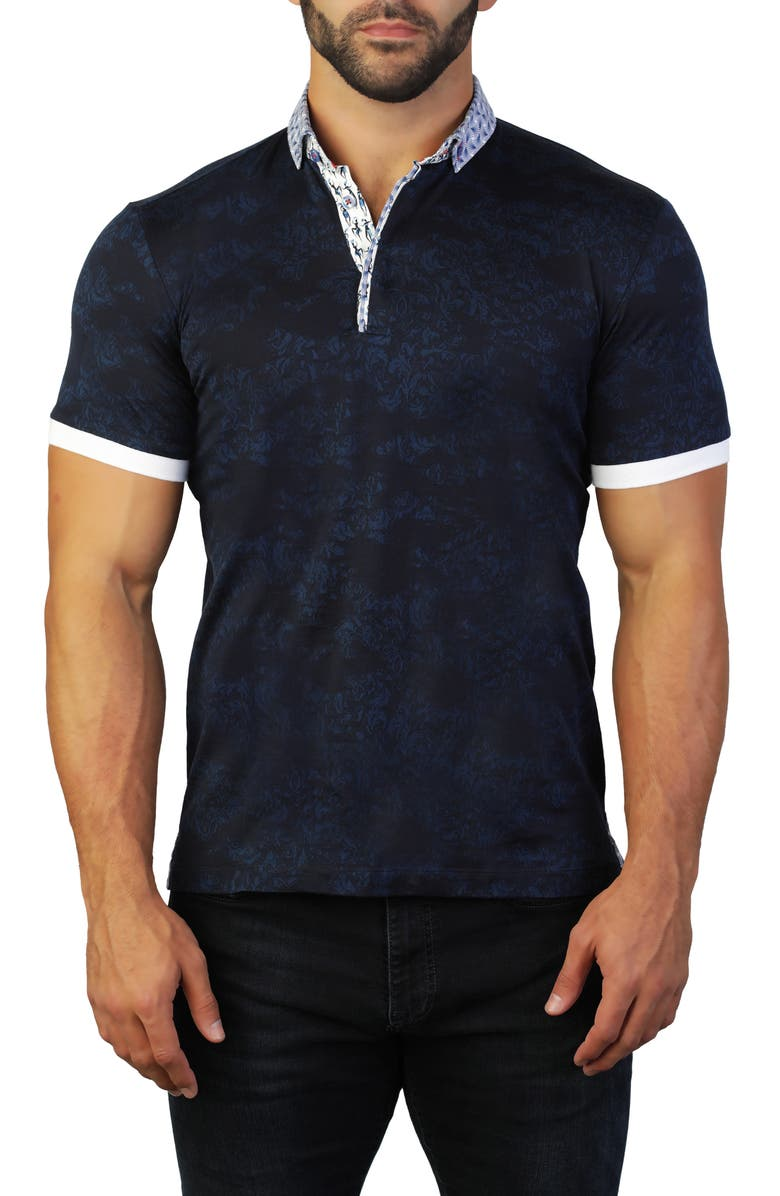 MACEOO Mozart Intrigued Blue Regular Fit Polo, Main, color, 420