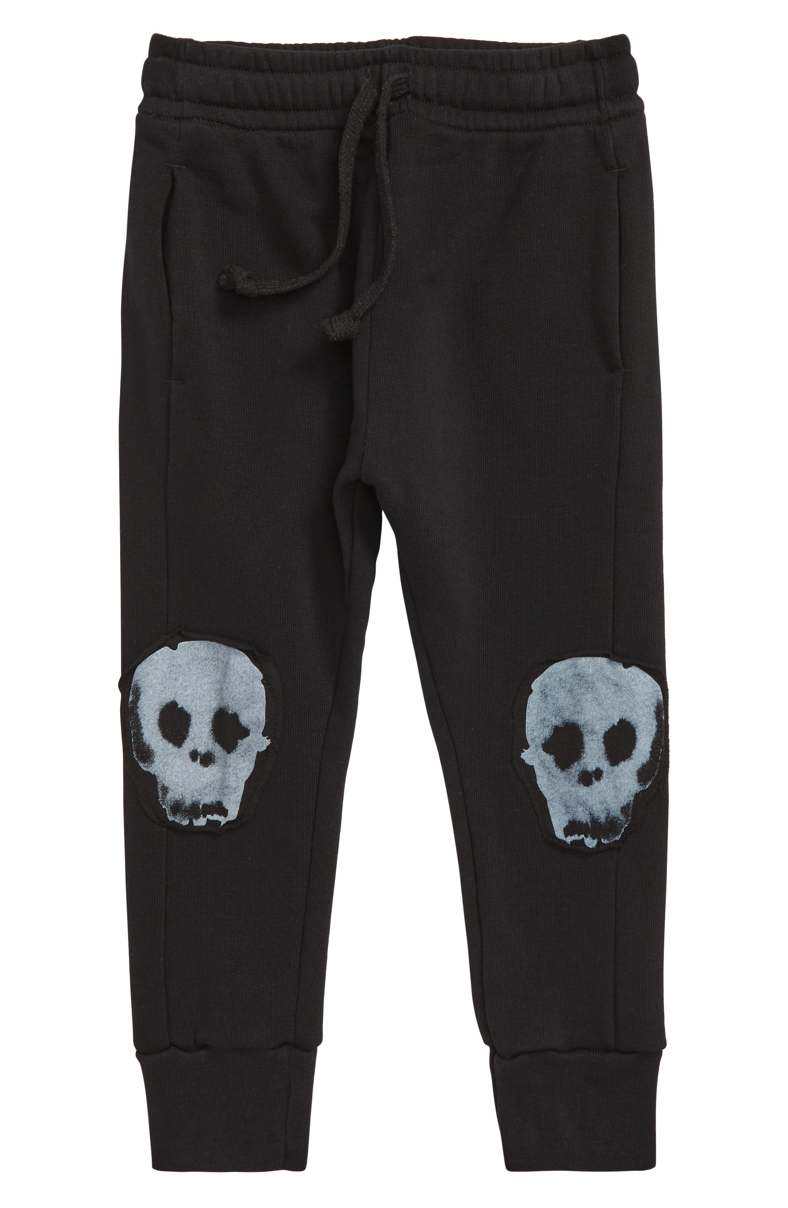 Boys Nununu Water Skull Patch Baggy Pants Size 45Y  Black