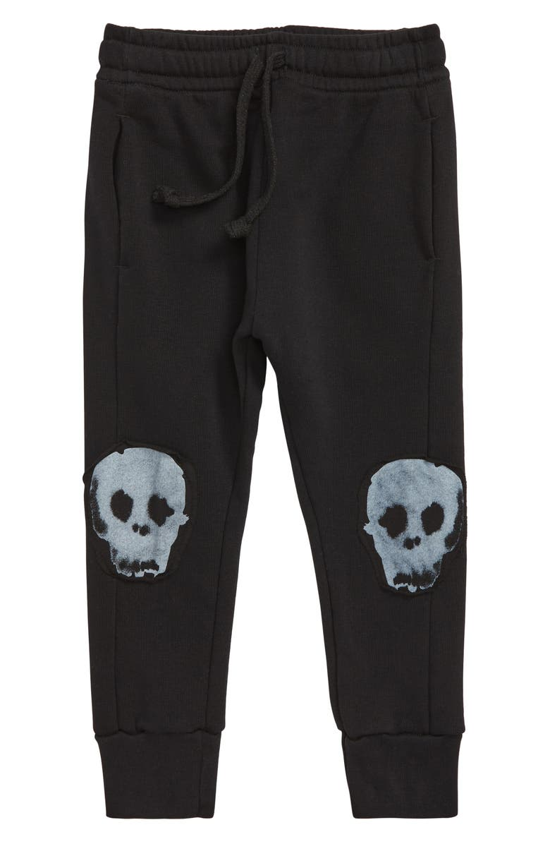 NUNUNU Water Skull Patch Baggy Pants, Main, color, 001