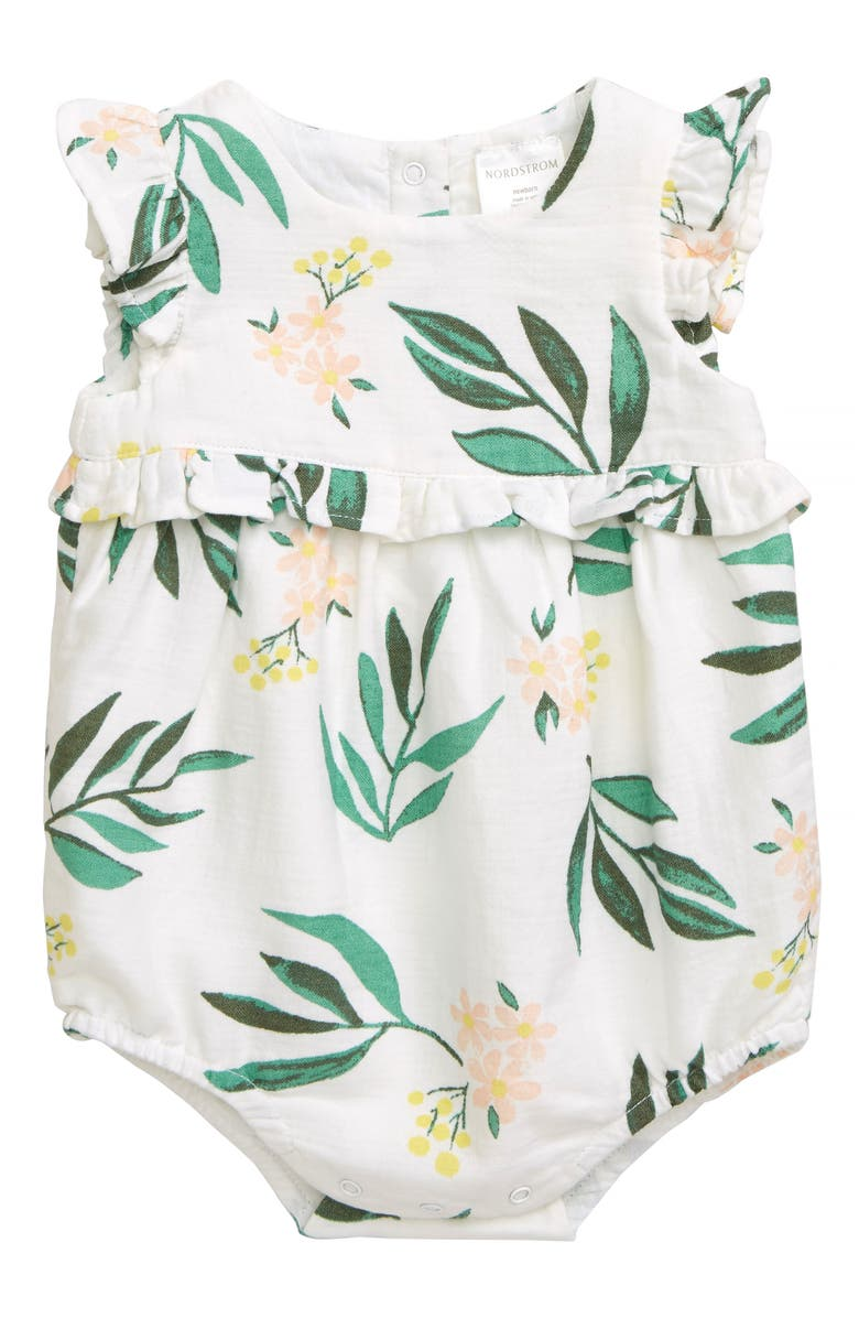 NORDSTROM BABY Tropical Bubble Romper, Main, color, 100