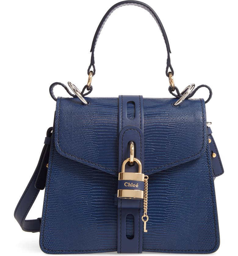 CHLOÉ Medium Aby Lizard Embossed Calfskin Shoulder Bag, Main, color, CAPTIVE BLUE