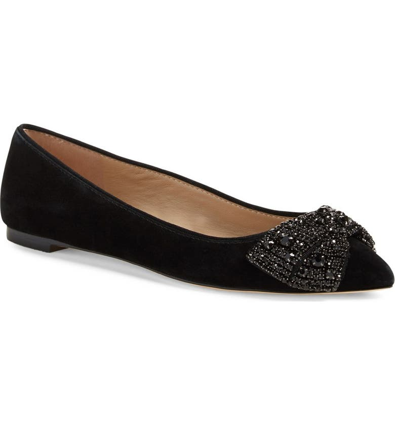 TORY BURCH Vanessa Embellished Bow Flat, Main, color, 001