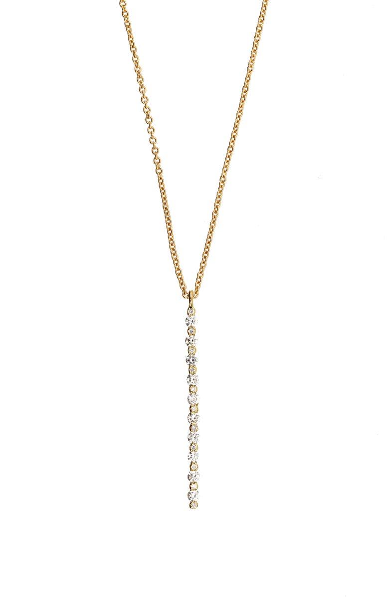 BONY LEVY Liora Vertical Bar Y-Necklace, Main, color, YELLOW GOLD/DIAMOND