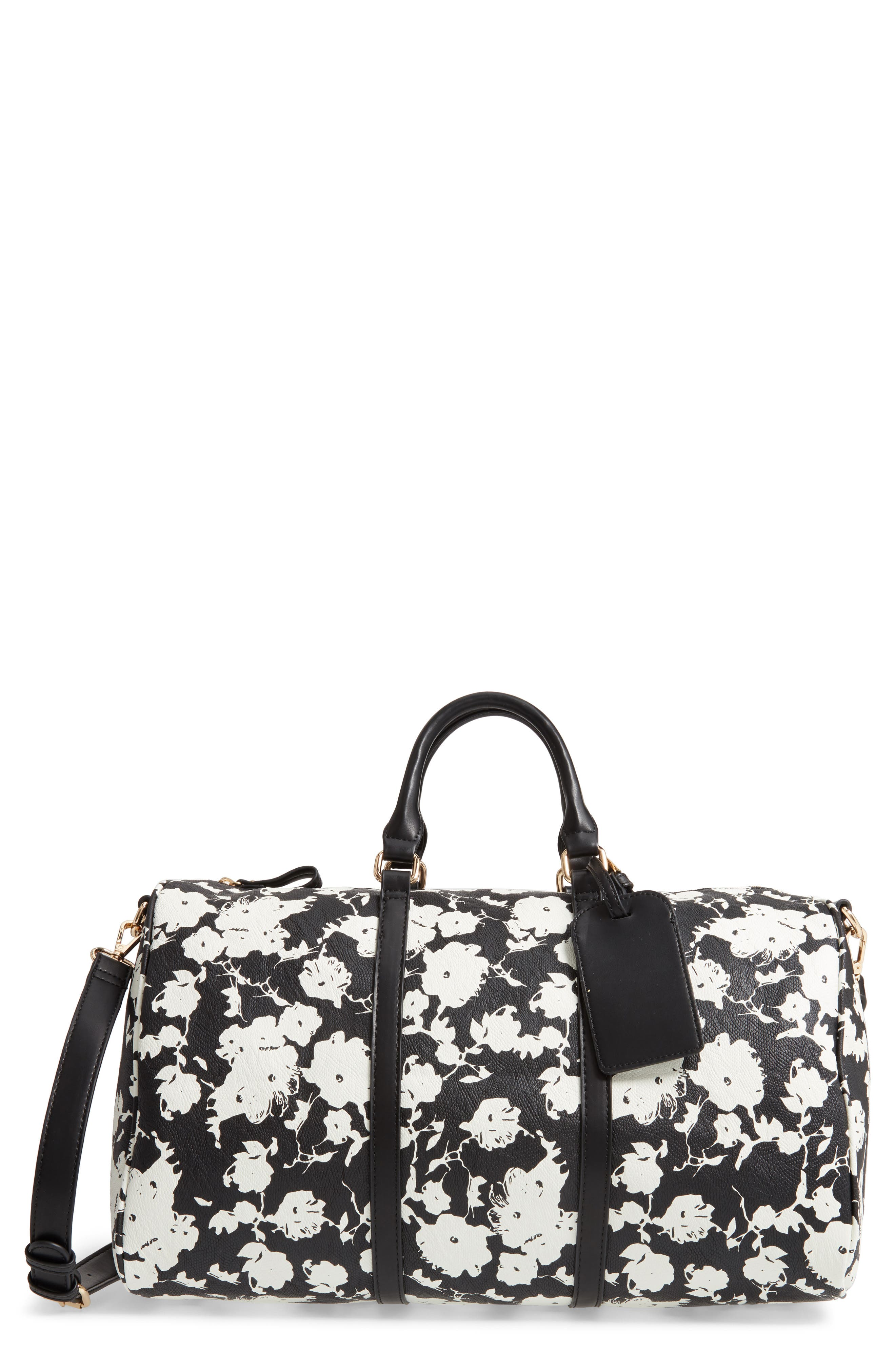 ,                             Cassidy Faux Leather Duffle Bag,                             Main thumbnail 1, color,                             BLACK FLORAL