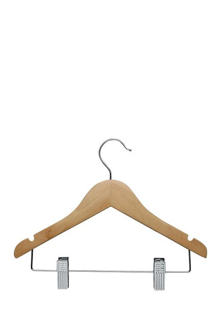 Image of Honey-Can-Do Kids Wood Hangers with Clips - Pack of 10