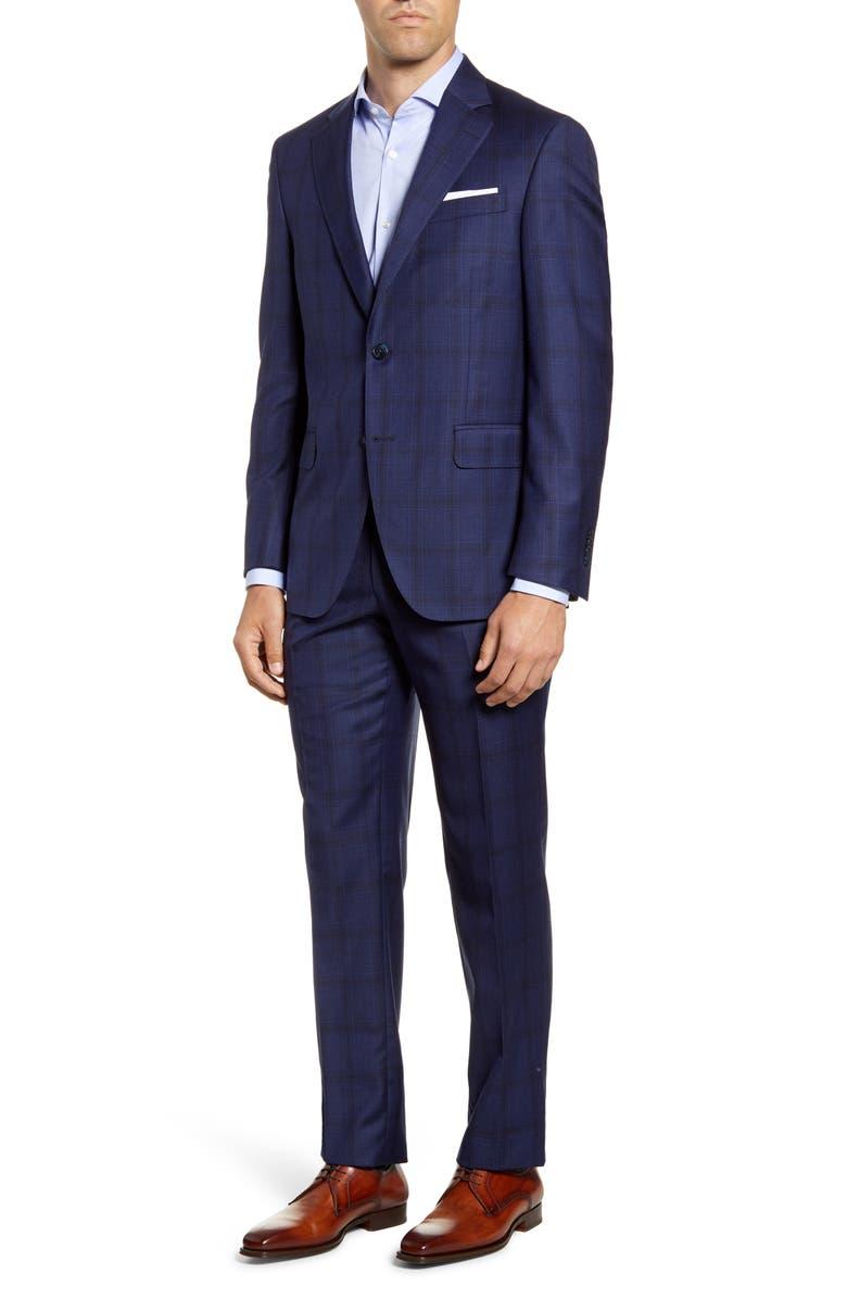 PETER MILLAR Flynn Plaid Wool Suit, Main, color, BLUE
