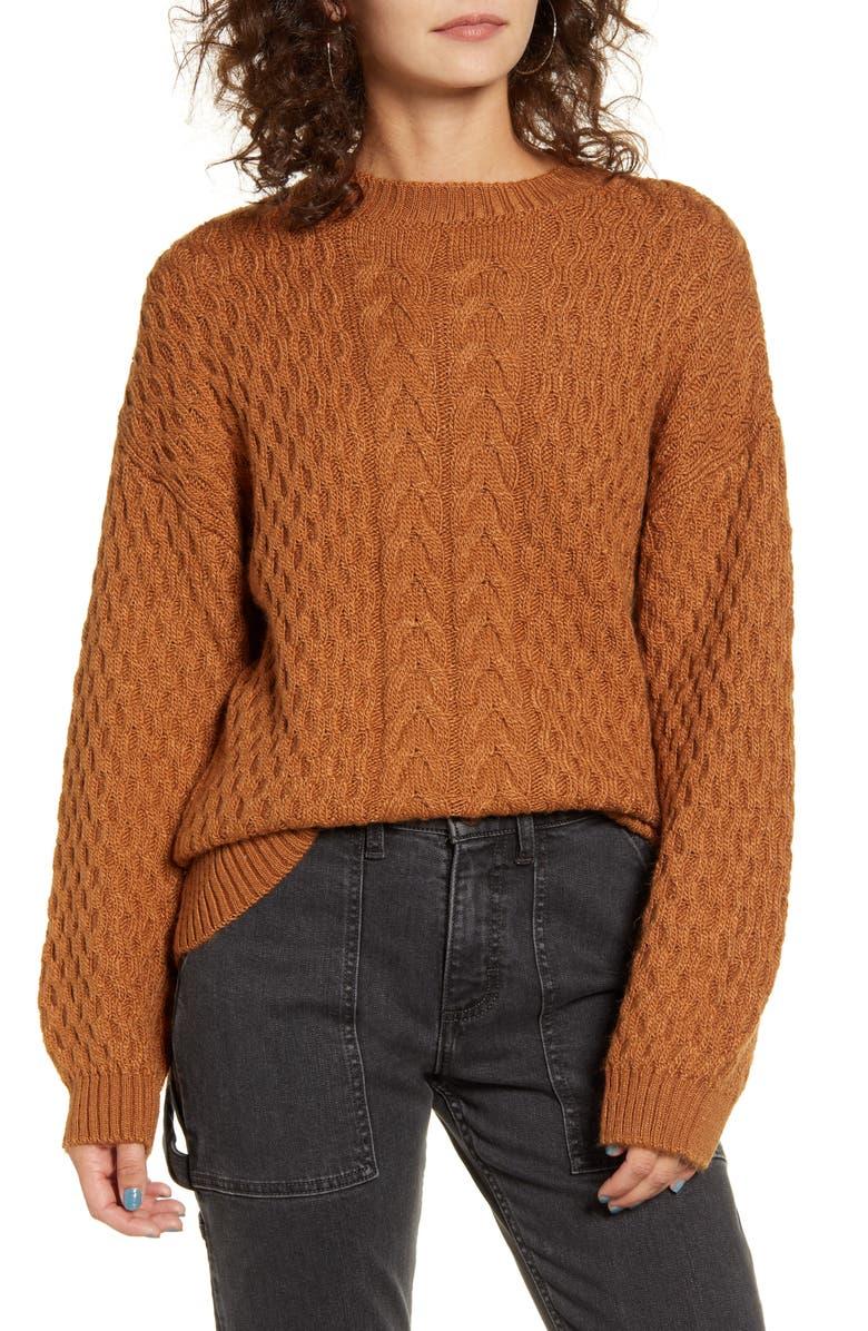 COTTON EMPORIUM Cable Knit Sweater, Main, color, CAMEL