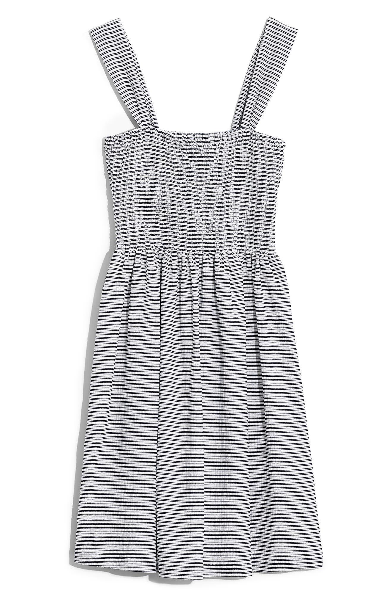 Madewell Texture & Thread Stripe Smocked Dress, Blue