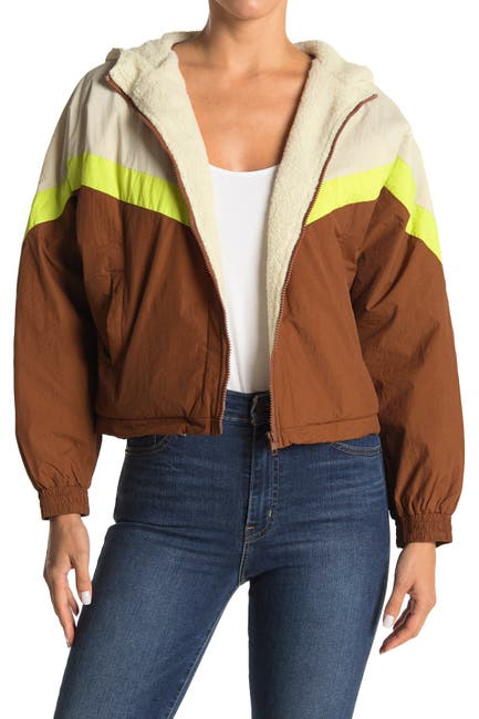 Image of Lush Colorblock Faux Shearling Lined Hooded Crop Jacket