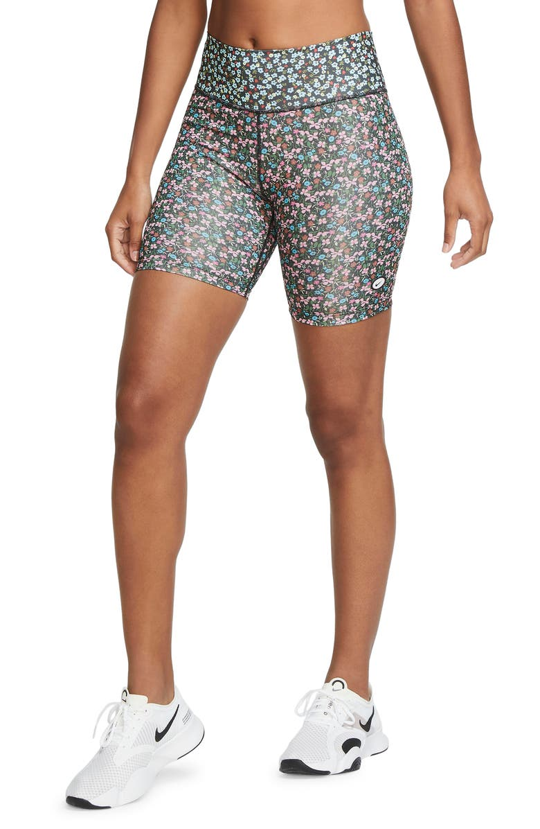 NIKE One Ditsy Floral Dri-FIT Bike Shorts, Main, color, FIREWOOD ORANGE/ ICE/ BLACK