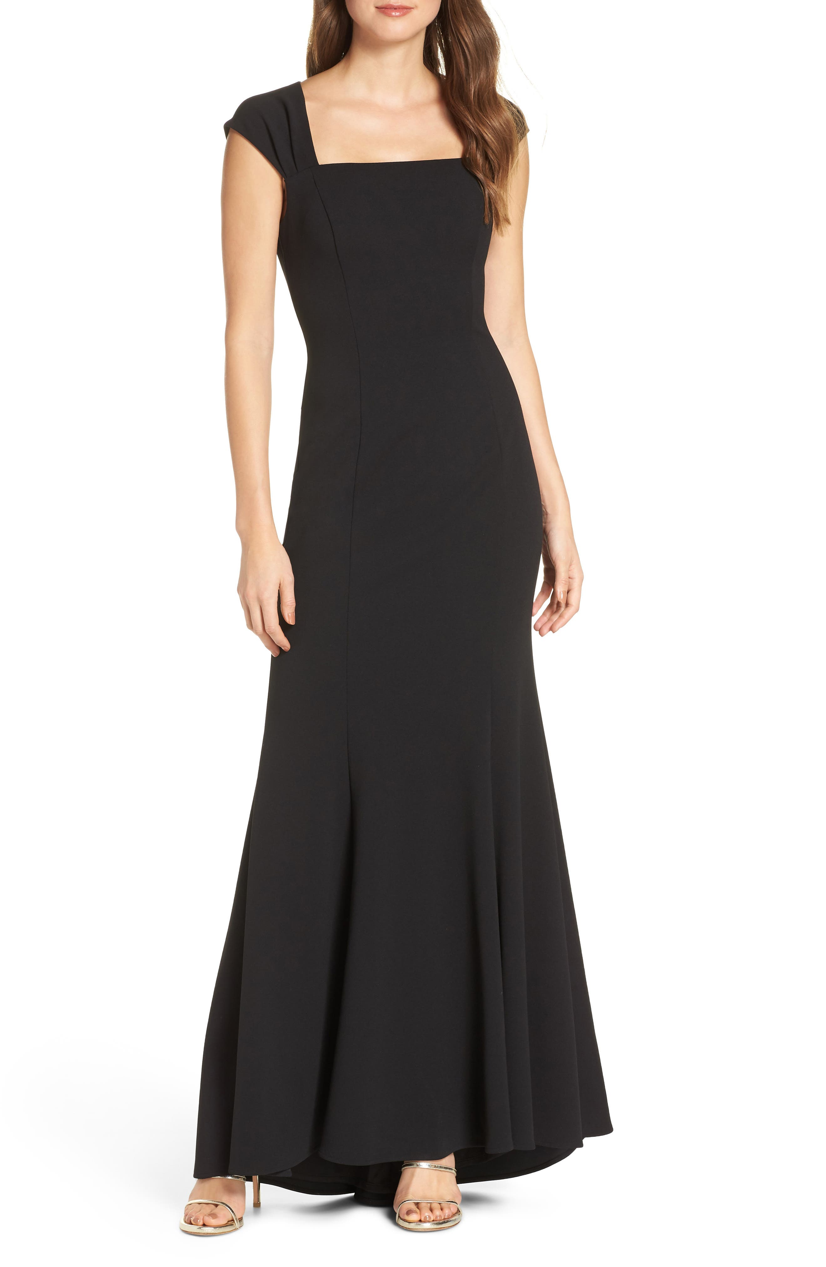 Eliza J Square Neck Scuba Crepe Evening Dress, Black