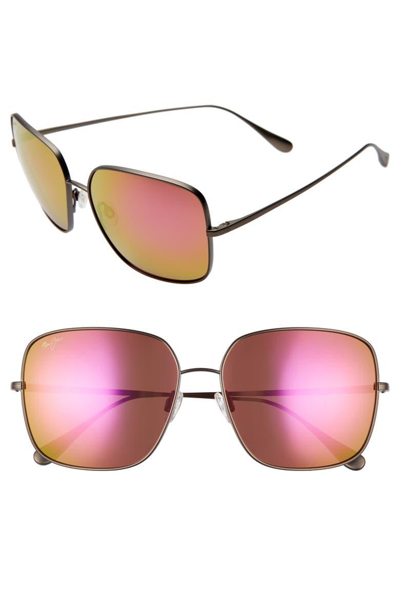 MAUI JIM Triton 61mm PolarizedPlus2<sup>®</sup> Mirrored Square Sunglasses, Main, color, SLATE GREY/ MAUI SUNRISE