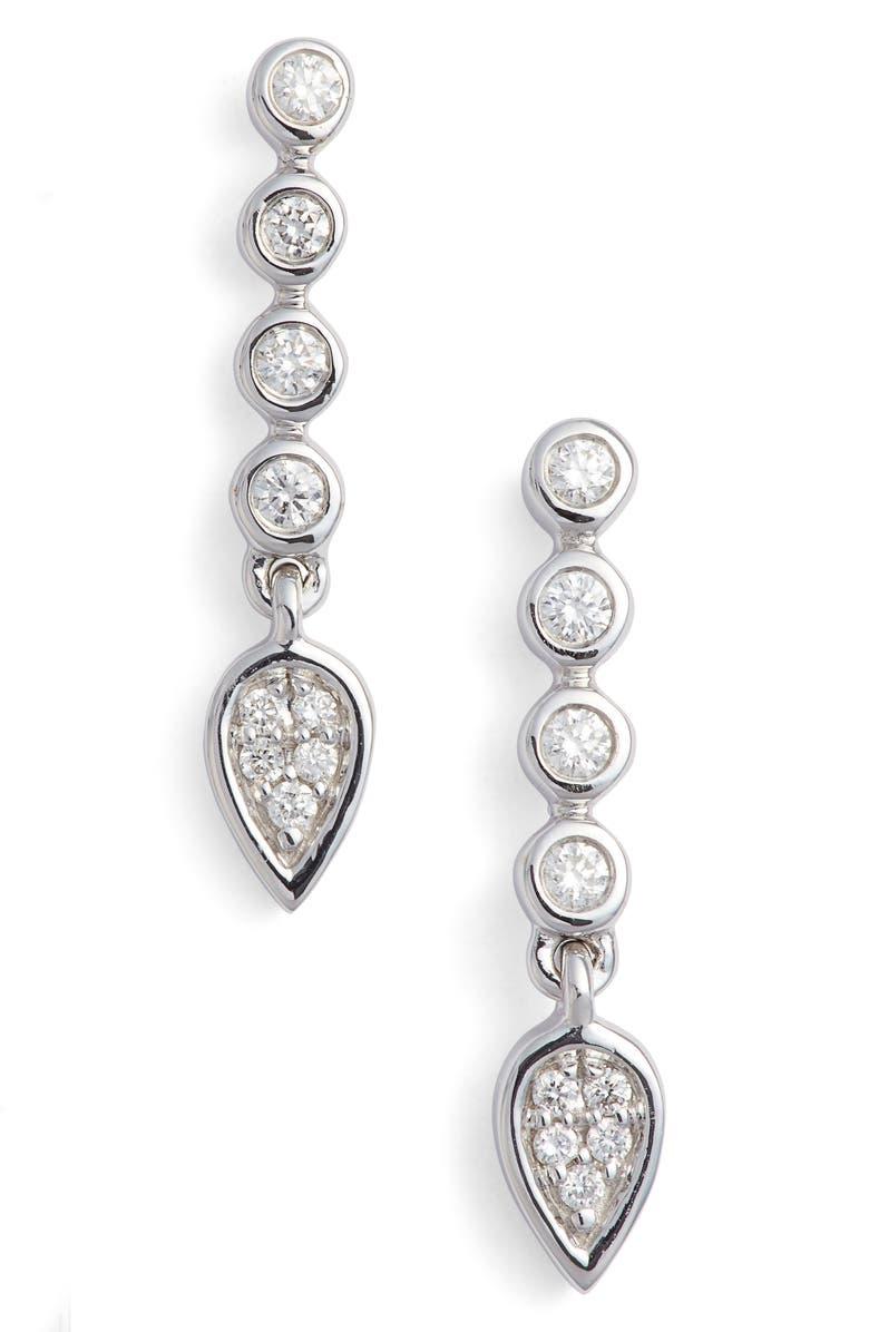 Dana Rebecca Designs Bezel Diamond Linear Drop Earrings