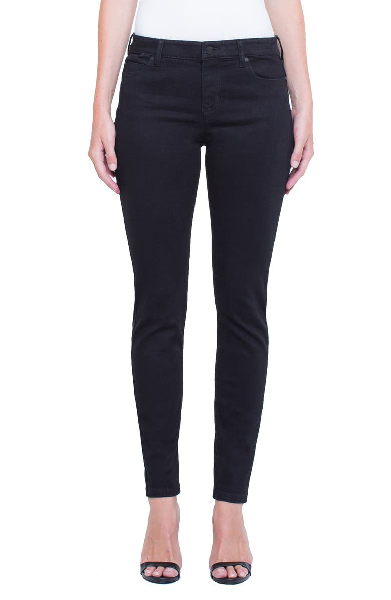 LIVERPOOL Jeans Company Abby Mid Rise Soft Stretch Skinny Jeans, Main, color, BLACK RINSE