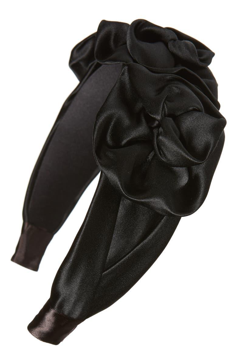 JENNIFER BEHR Triple Rosette Headband, Main, color, BLACK