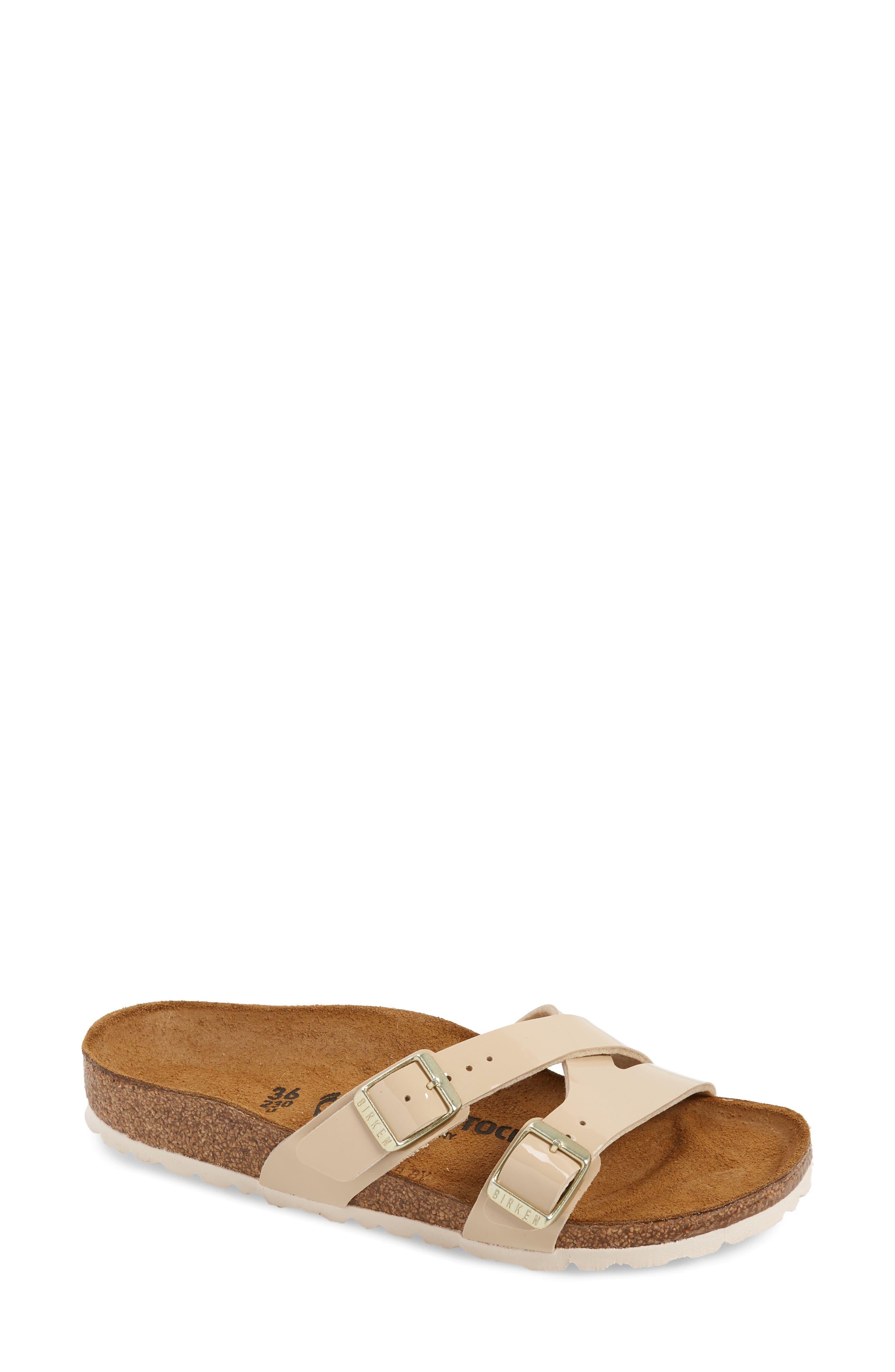Birkenstock Yao Patent Slide Sandal, Beige