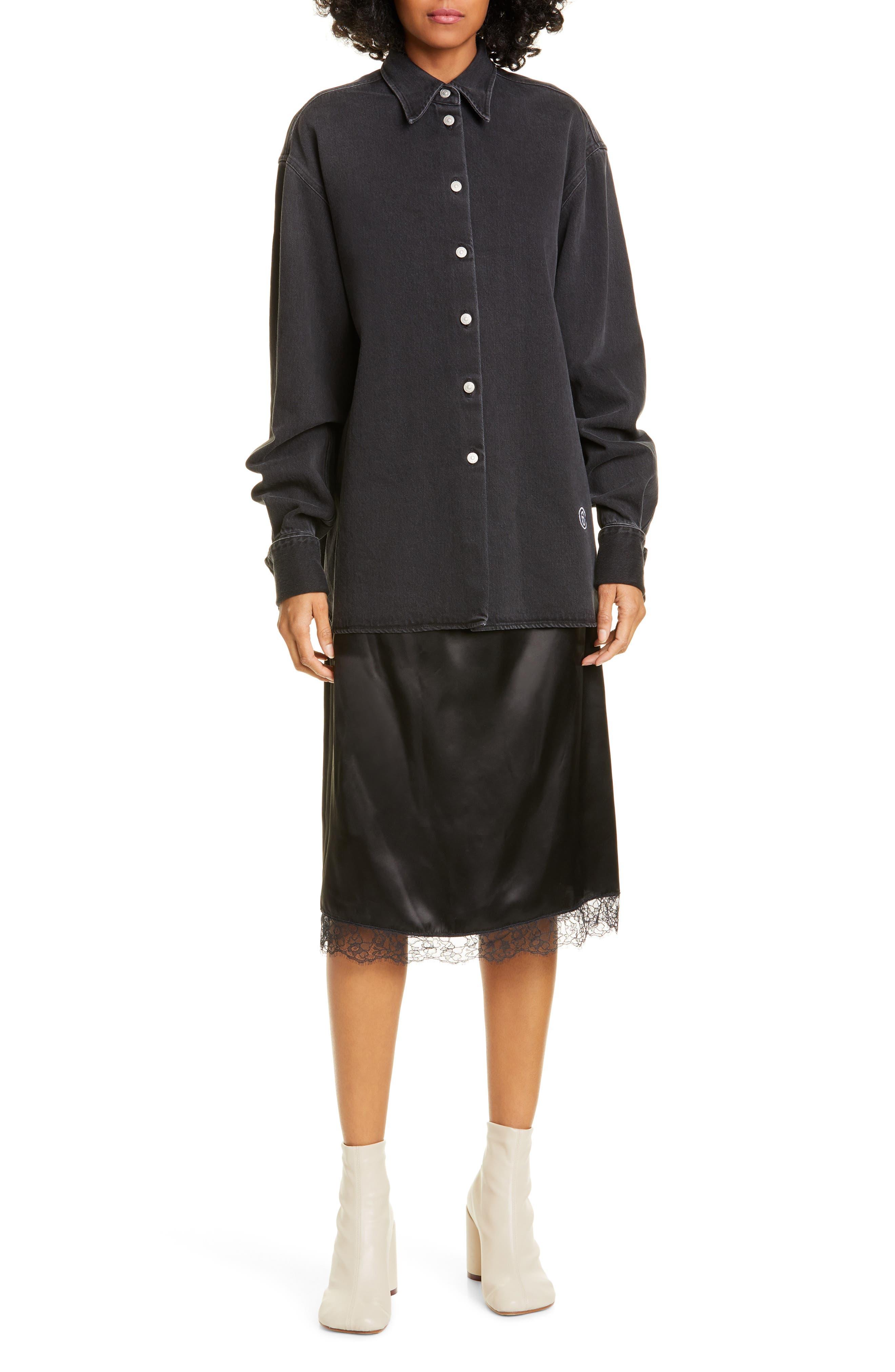 Mm6 Maison Margiela Dresses Slip Hem Long Sleeve Denim Shirtdress