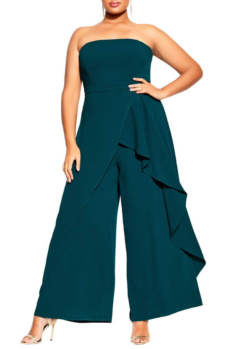 CITY CHIC Attraction Strapless Jumpsuit, Main, color, EMERALD