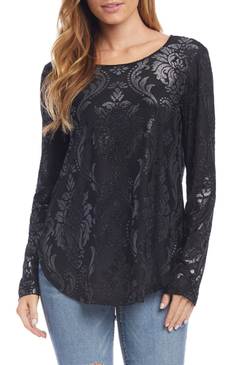 KAREN KANE Sparkle Print Shirttail Top, Main, color, BLACK WITH SILVER