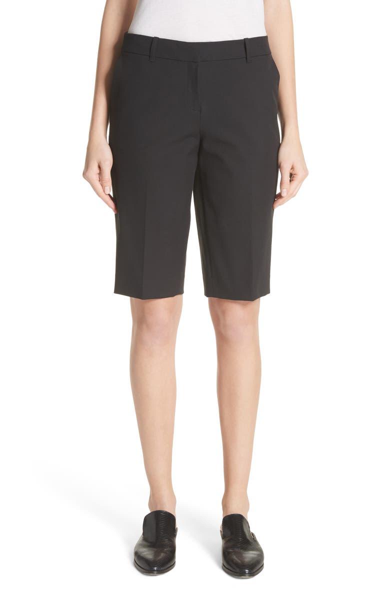 LAFAYETTE 148 NEW YORK Manhattan Bermuda Shorts, Main, color, BLACK