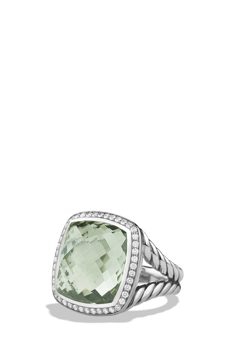 DAVID YURMAN Albion Ring with Diamonds, Main, color, PRASIOLITE